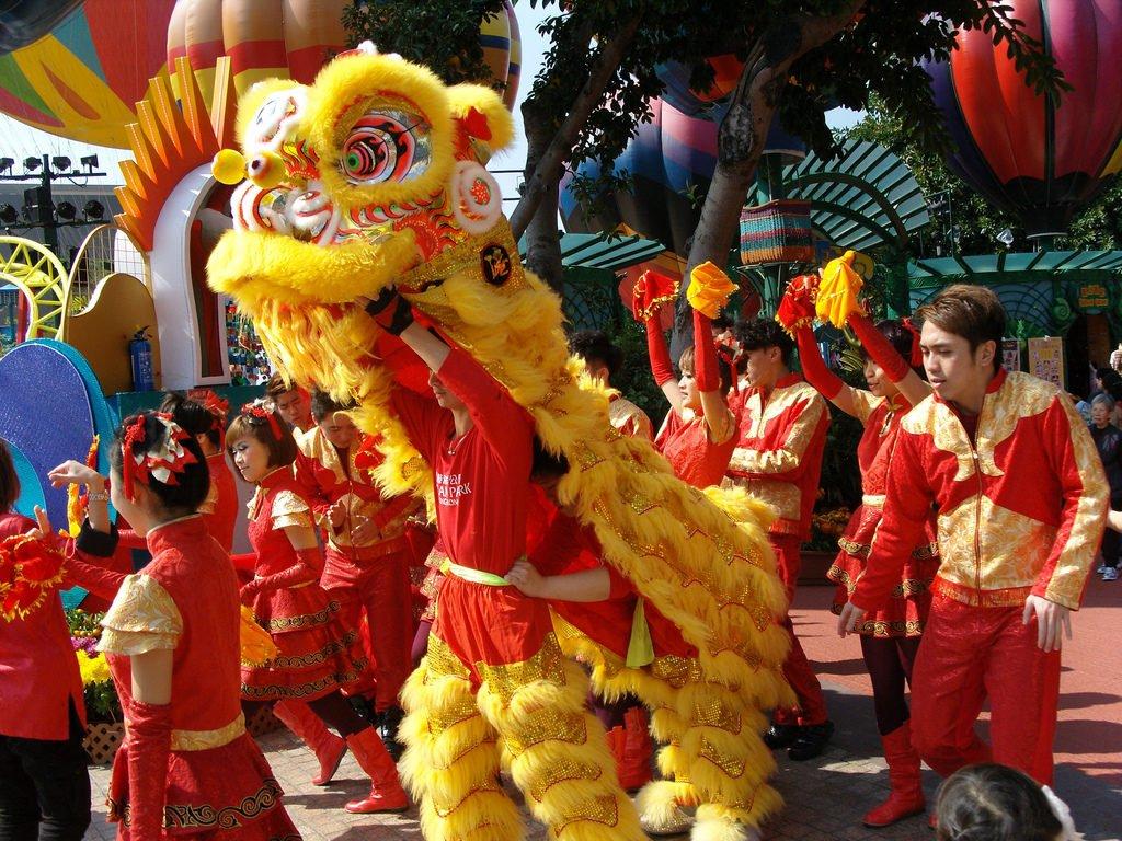Chinese new year hong kong lion dance
