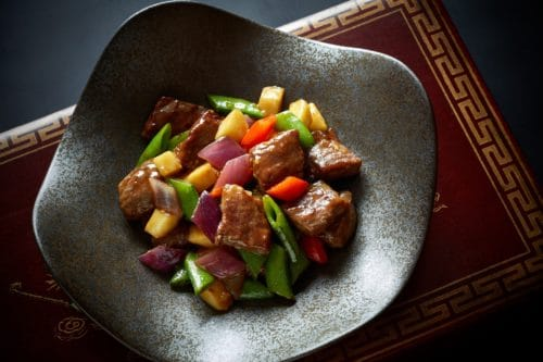 Hong Kong Fine Dining - Above & Beyond - Wok-fried Wagyu Beef Cubes with Green Apple, Mustard and Wasabi