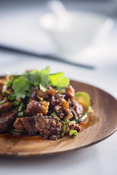 Hong Kong Fine Dining - The Chairman - Slow Cooked Crispy Lamb Belly with Chinese Vinegar and Garlic Dressing